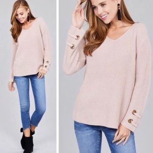 Blush Knit Sweater with Grommet Laced Sleeves